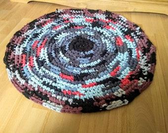 Handmade Crocheted Round Rag Rug, Eco Friendly, Upcycled T-Shirts, Eco Friendly Rag Rug.