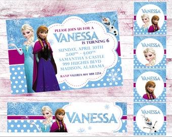 frozen invitation birthday invitation  heavy cardstock or digital party banner tags model1