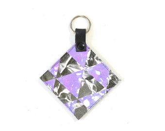 Printed Leather Square Key Ring