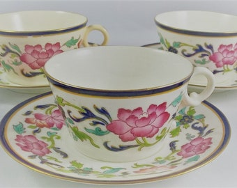 Set of 3 Brownfield English Hand Painted Cups & Saucers