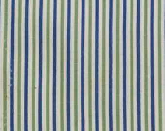 Vintage Sugar Sack, White White Blue and Avocado Green Thin Stripes, 24 x 25 inches, Feed or Flour Sack