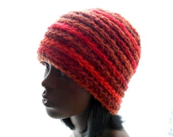Women's Beanie Hat, Wool - Blend Striped Hat, Crochet Hat in Oranges and Browns, Large Size