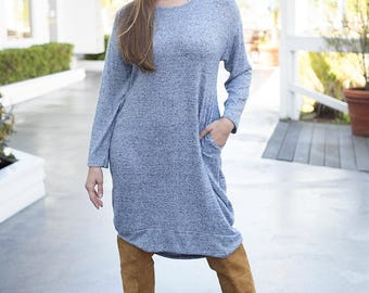 Soft-Knit Dress with Removable Collar