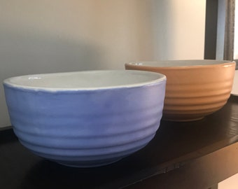 Hand Painted Sky Blue and White Glazed Pottery Bowl