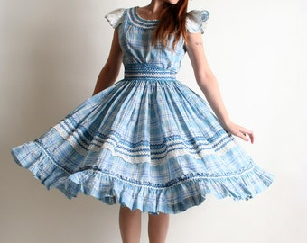Vintage 1950s Patio Skirt & Blouse Set - Sky Blue Plaid Country Girl Outfit - Small Medium