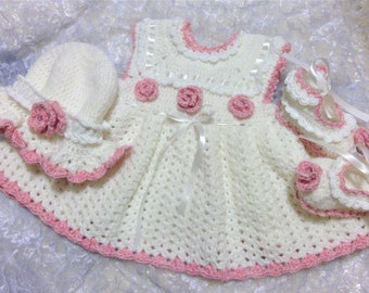 Crochet Baby Dress Baby Girl Dress Baby hat Baby headband Baby booties Baby Shower Gift  Home From hospital outfit for baby girls White Pink