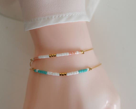 Minimalist bracelet, mini bracelet Miyuki beads, bracelet beads, fine bracelet chain snake, gold plated