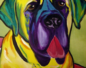 Mastiff, Pet Portrait, DawgArt, Dog Art, Pet Portrait Artist, Colorful Pet Portrait, Mastiff Art, Pet Portrait Painting, Art Prints