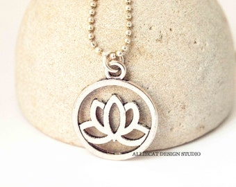 Boho Lotus Necklace | Bohemian Necklace | Boho Silver Lotus Necklace | Silver Lotus Necklace