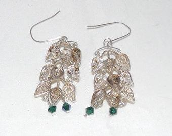 Repurposed 800 Silver Leaf Earrings