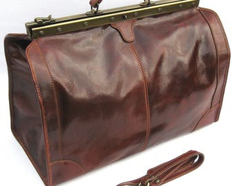 """Large Leather Doctors Bag Made in Italy """"Enzo Olletti"""""""