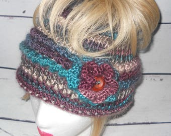 Women's messy bun, ponytail hat / beanie in vibrant colors