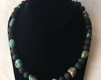 Turquoise and lava bead necklace