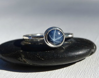 blue star sapphire ring, unique engagement ring sapphire, sapphire silver ring, september birthstone sapphire, sapphire engagement ring