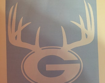 Georgia G with Antlers Car Decal