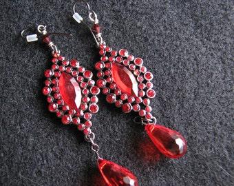 Red drop earrings | rhinestone | women | fashion | dangle | boho chic | teardrop