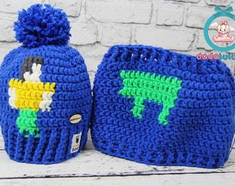Winter cap, Winter hat, Hand-made set for the winter, minecraft set, boys dreams