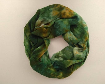 Hand Dyed Rayon Scarf - Hand Dyed Infinity Scarf - Green Rayon Scarf