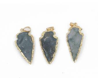 3 Arrowhead Pendant - Jasper Arrowhead Stone Pendant - Gold Plated Pendant - Gold Arrowhead Pendant - Slice Pendant Charms Jewelry