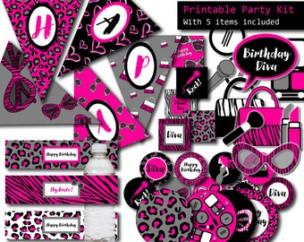 Diva Party 5 ITEMS Printable Party Kit, Girl Birthday Printable Party Package, Slumber Party Favors, Diva Birthday Banner, Pink Cake Toppers