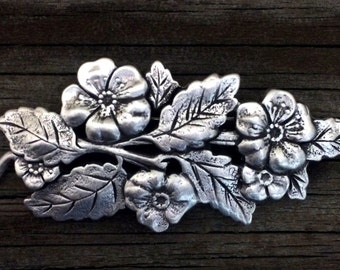 Leaves and Flowers Brooch | Brooch | Handcrafted Jewelry | Spring | Flowers and Leaves | by Treasure Cast Pewter #0252