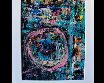 8x10 Abstract Acrylic Painting with 11x14 White Mat Frame, Circles