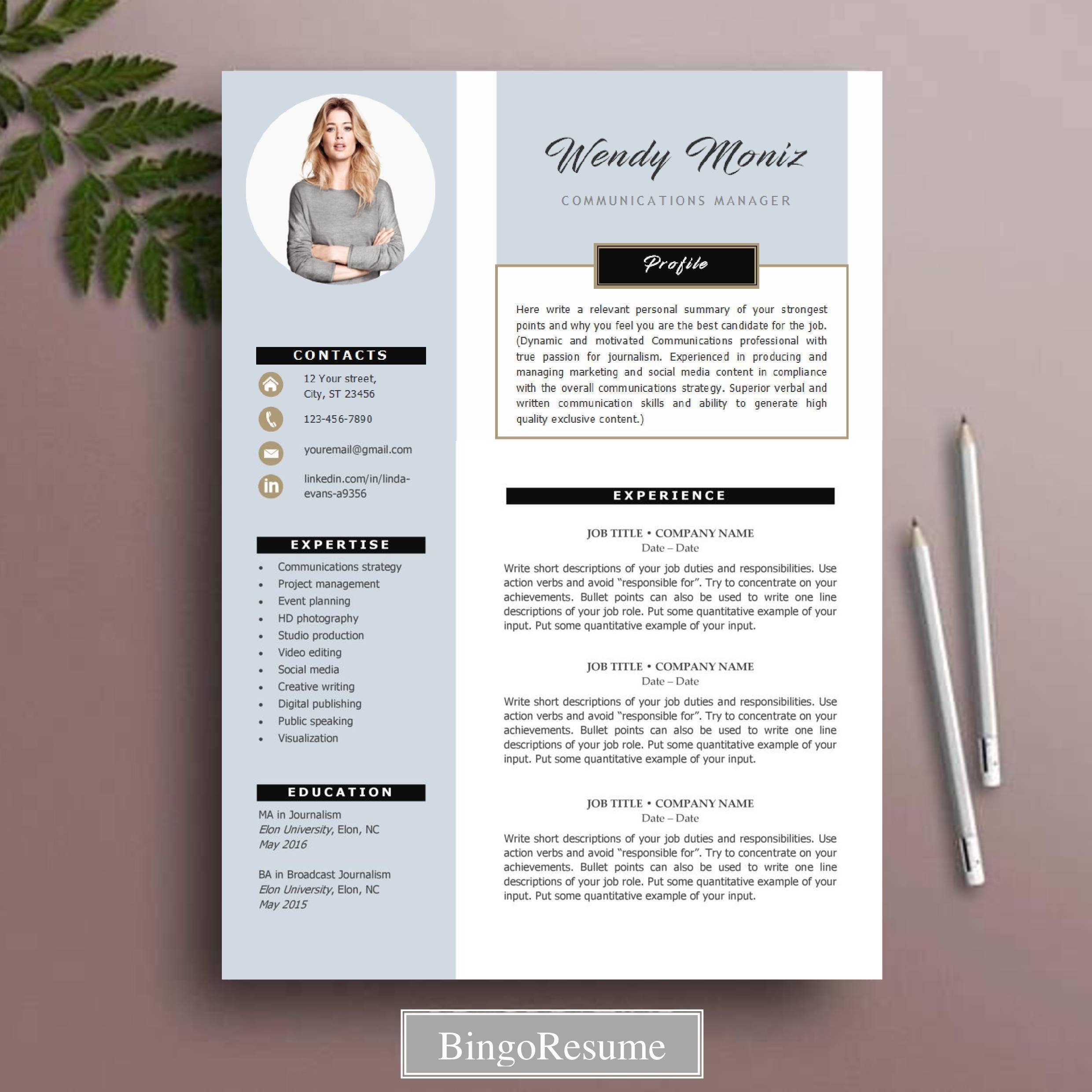 Resume Template Cv Template Instant Download Ms Word