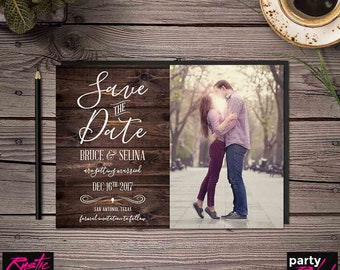 Rustic Save The Date, Photo Save The Date, Printable Save The Date, Swirl Save The Date, Country Save The Date, Wood Invite, STD03