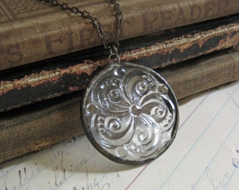Clear Glass Swirl Necklace Stained Glass Jewelry