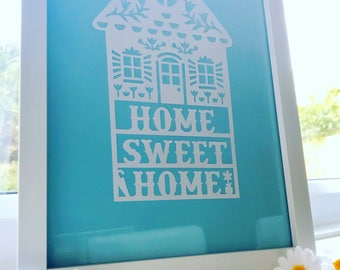 Home Sweet Home Papercut / new home gift / house warming gift / framed or unframed