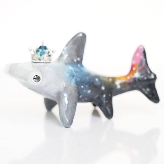 GALAXY SHARKS - Handmade Polymer Clay Sculpture With a Swarovski Crystal