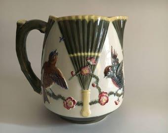 "7.5"" 19th c English Wedgwood Majolica pitcher Bird Fan pattern"