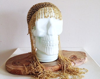Golden Beaded Wig Hat Skull Cap Glam 1980s Does 1920s Flapper Burlesque Costume