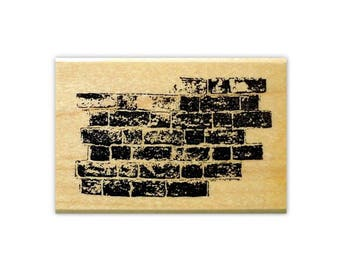 Brick Wall Mounted rubber stamp, urban, collage element, grunge, Sweet Grass Stamps No.15
