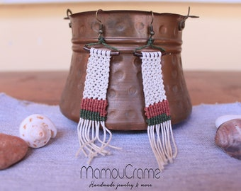 Macrame Earrings with Cotton Cord