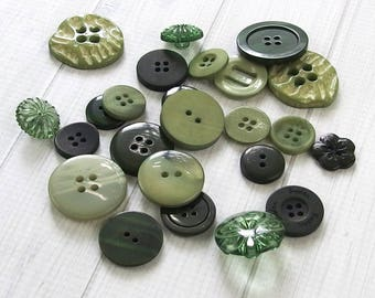 Assorted Mixed Buttons, Forest Green - Craft Buttons, Sewing Buttons, Bulk Buttons, Doll Clothes, Button Art