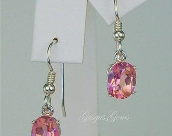 Memorial Day Sale Pink Mystic Topaz Dangle Earrings Sterling Silver 9x7mm Oval 4.95ctw