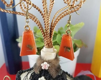 Coral unique 'one and only' design earrings