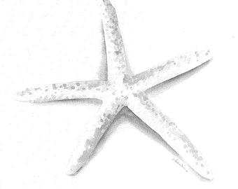 White starfish 8x10 watercolor print
