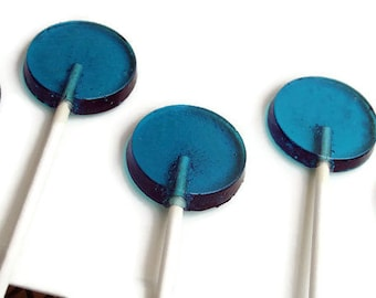 Blue Wedding Favor Lollipops - Flat Round Hard Candy   - 6 Lollipop Pack - Cake Decorations, Blue Wedding Favors, Party Favors, Boy Baby