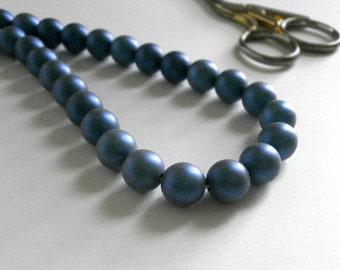 20pcs Blue Haze Glass Beads 10mm Matte Metallic Coated Glass Beads