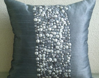 "Designer Grey Pillows Cover, 16""x16"" Silk Pillow Covers, Square  3D Sequins & Beaded Glitter Pillows Cover - Silver Bullets"
