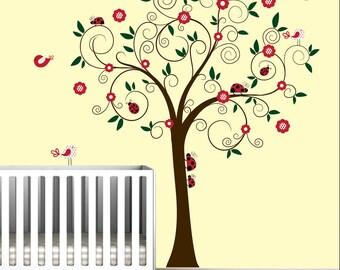Baby Kinderzimmer Wand Aufkleber Aufkleber Decals-Marienkäfer Baum Baum-e150