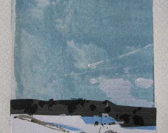 Coyote Hill, Original Winter Landscape Collage Painting on Paper, Stooshinoff