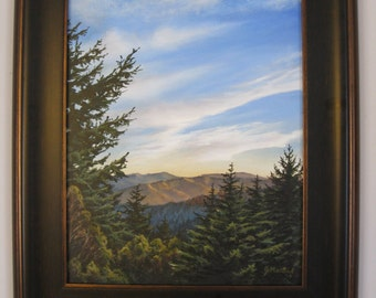 Original 16x20 California Mountain Valley Painting on Canvas by J. Mandrick