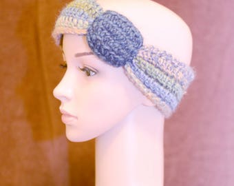 Shades of Blue Buttons 'n Bows Ear Warmer