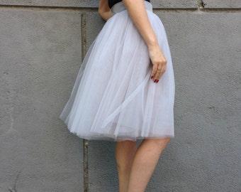 "Grey Tea length Tutu Skirt, Women Tulle Skirt, Princess Skirt,  Wedding Skirt - – ""Choose to be me' / EXPRESS SHIPPING / MD 10064"