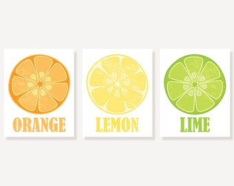 Kitchen Art - Orange Lemon & Lime - 3 Vintage Style Citrus Prints Illustration Prints Wall Decor