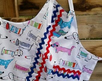 Vibrant Dog Apron ,  Kitchen Apron, Craft Apron, Woman's Apron!