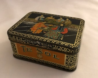 Te Sol Tea Tin / Te Sol Black Label Tea Tin / Te Sol Tea Company Tin / Antique Tea Tin / 1920s Tea Tin / Antique Tin